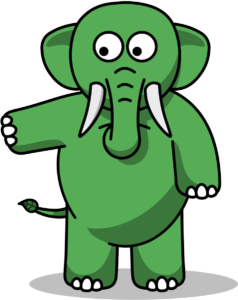 Eco the Elephant standing and pointing left
