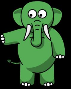 Eco the Elephant pointing left