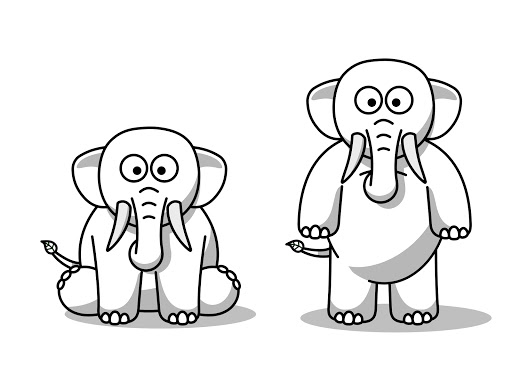 Eco the Elephant standing and sitting
